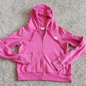 Pink Victoria's Secret Full-Zip Hoodie-Size Large